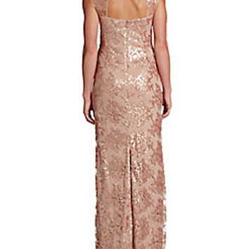 Adrianna Papell Petal Sequined Gown