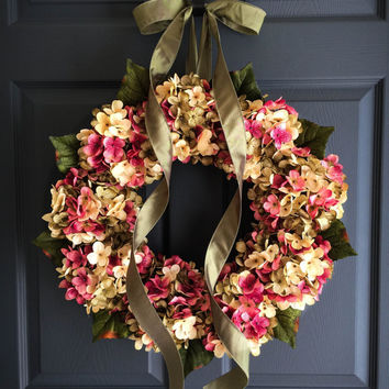 Wreath - Spring / Summer Hydrangea Mix Wreath - Front Door Wreath - Wreaths - Summer Hydrangeas Wreath - Housewarming Gift