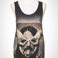 Dave Grohl Finger Mask Charcoal Black Singlet Tank Top Art Indie Hard Rock T-Shirt Size S