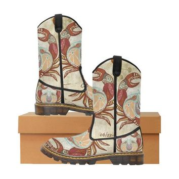 Cancer Zodiac Print Women's Lumber Western Boots (Large Size)