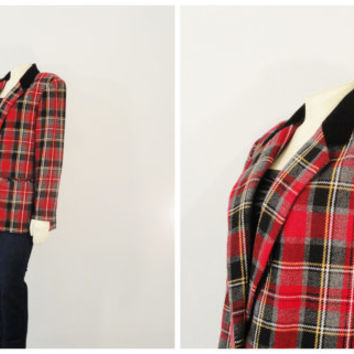 Vintage Blazer 80s Red Black Gray Tartan Plaid and Velvet Lapel Jacket size 10 Modern M L XL