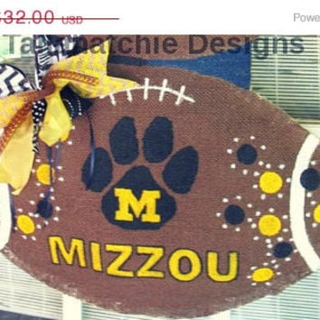 25% Off TODAY Missouri Tigers Burlap Football* Mizzou Tiger Football* Burlap Football Door Hanger