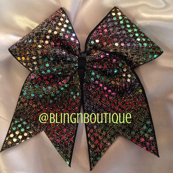 Black Gold Cheer Bow