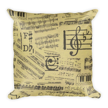 Old Sheet Music Decorative Pillow