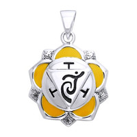 Silver Plated Manipura Solar Plexus White Bronze Third Chakra Healing Cleansing Inner Peace Spirituality Positive energy channels Symbol Buddhism Buddha Spiritual Body Pendant Necklace With A 18'' Silver-Finished Brass Cable Chain