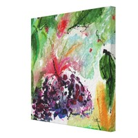 Abstract Square Painting Green and Blue Berries Canvas Print