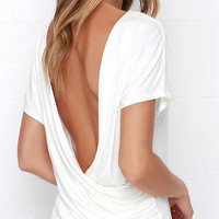 White Short Sleeve Deep V-Neck Open Back T-shirt