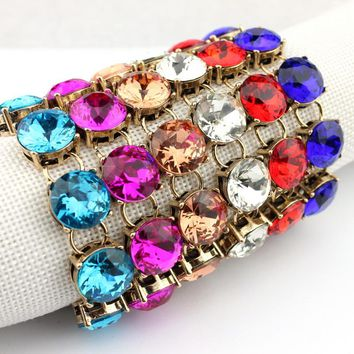 1.5cm Classic Faceted Round Glass Crystal Dot Bracelets