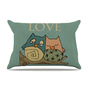 "Carina Povarchik ""Lechuzas Love"" Owls Green Pillow Case"