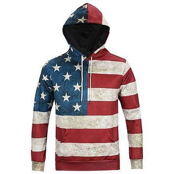 USA Flag Stars Stripped Hoodies - Men's Novelty Pullover Hooded Sweatshirts