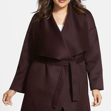Plus Size Women's Fleurette Wool & Cashmere Double Face Wrap Coat