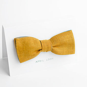Men's bow tie in mustard and teal