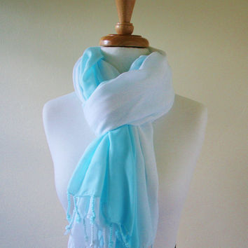 Beach Blue Sarong, Ombre, Swimsuit Cover Up, Wrap, Aqua and White Scarf, Surf Blue, Hand Dyed, Wrap Skirt, Pool side, Beach