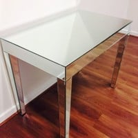 Mirrored Glass dining, dressing, console, hallway, Table Venetian Mirrored