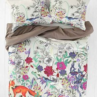 Plum & Bow Forest Critter Duvet Cover- Mauve Full/queen