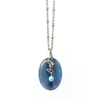 Blue Kyanite Gemstone Pendant in Oval Shape, Dolphin Charm with Turquoise Stone, Stainless Steel Chain