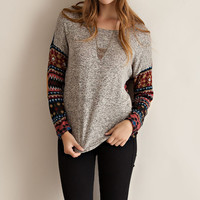 Pattern Sleeve Top - Taupe Combo