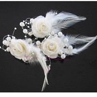 White Crystal and Pearl Bridal Feather Fascinator Headpiece Bridal Flowers/Hair Accessory Wedding Flowers (3 Piece in one set) by Generic