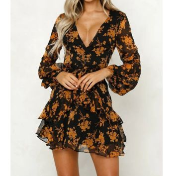Sexy V-Neck Printed Long-Sleeved Dress