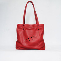 Red leather bag. Red leather tote. Summer leather bag.