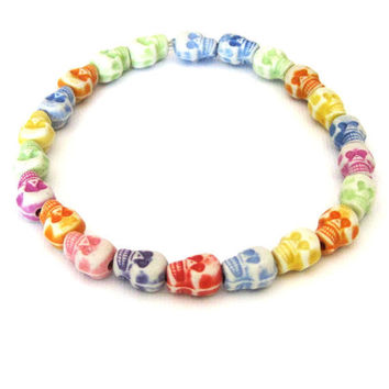 Candy Skull Stretch Bracelet bright multicolor by SassyBelleWares