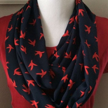 Navy and Red Bird, Patriotic Infinity Scarf