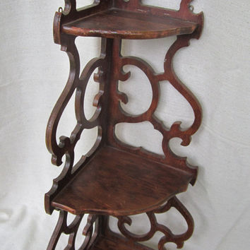 Wood Corner Shelf 3 Tiered Scrolled Wood Sides Trinket Curio Shelf