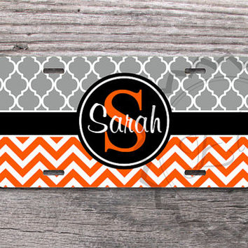 Monogrammed License Plate - Gray trellis pattern and Orange chevron with Black monogram band, personalized front car tag - 184