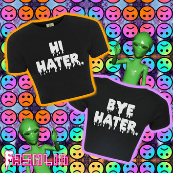 Hi Hater / Bye Hater Drippy Slime Crop Top T-Shirt // Tank Top // 90s // Grunge Clothing // fASHLIN