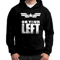 Captain america on your left Gildan Hoodie (on man)