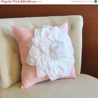 MOTHERS DAY SALE Throw Pillow White Dahlia on Light Pink Pillow 14x14 Flower Pillow