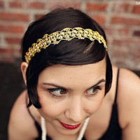 Gold Flapper Style Lace and Pearl Headband by bethany lorelle Silver Option Available