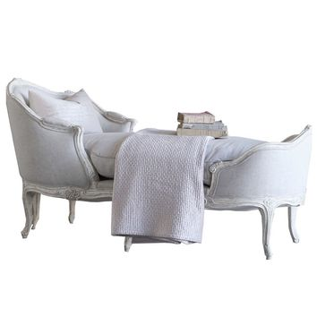 Eloquence Marie Antoinette Weathered White Chaise