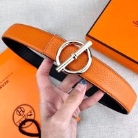 Free shipping-Hermes new lychee smooth buckle belt