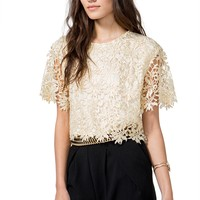 Golden Crochet Tee