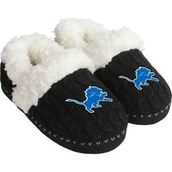 NFL Detroit Lions Womens Fur Moccasin Slippers