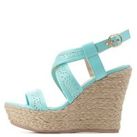 Mint Laser-Cut Espadrille Wedges by Charlotte Russe