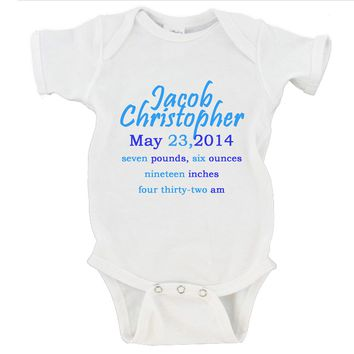 Custom Baby Boy Birth Announcement Gerber Onesuit ®