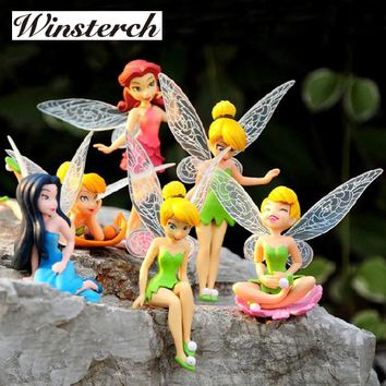 6pcs/Set Christmas Kids Gift Tinkerbell Dolls Flying Flower Fairy