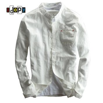 Spring Autumn Men`s Casual Linen Cotton Shirt Long-Sleeve Slim Fit Breathable Comfy Stand Collar Shirt For Men