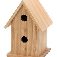 Darice Wood Bird House with 2 Openings