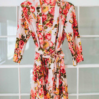 206 , Floral kimono crossover robe, Bridesmaids, maid of honor, spa robe, beach cover up, dressing up robe, maternity, bridal, shower, party