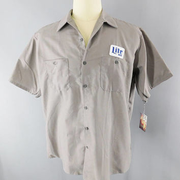 Miller Beer / Delivery Man / Gray XL Short Sleeve / Work Shirt / Lite Beer  / Beer Patch / Patches / Miller Lite