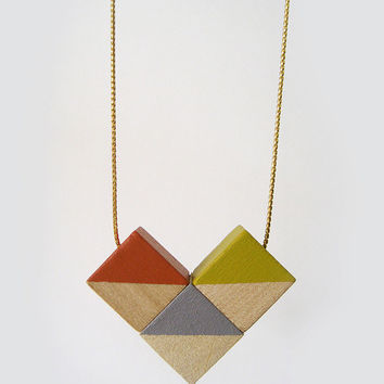 Geometric Design Necklace in mustard yellow and orange · Handmade · Heart pendant · Wooden Necklace · Natural design
