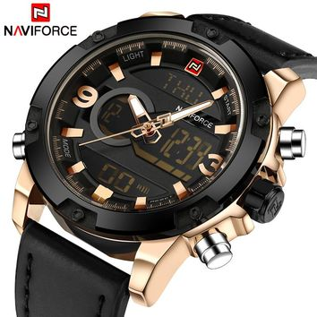 NAVIFORCE Luxury Men Analog Digital Leather Sports Watches Men's Army Military Watch Man Quartz