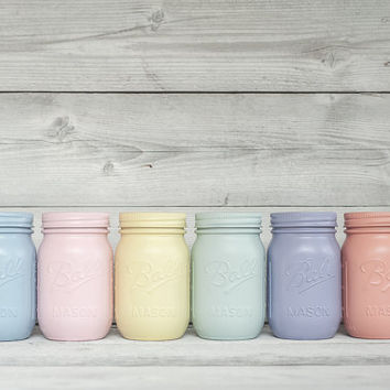 Pastel painted mason jar party and centerpiece decor