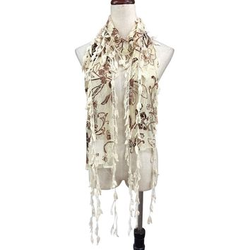 Beige/Brown lace scarf