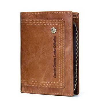 Large Capacity Genuine Leather Trifolde Wallet For Men
