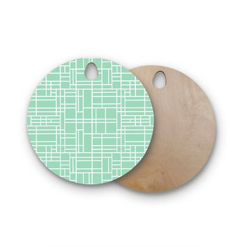 """Project M """"Map Outline Mint"""" Geometric Lines Round Wooden Cutting Board"""