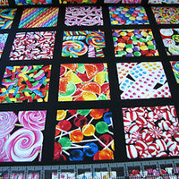 1 Yard Quilt Cotton Fabric- Benartex Kanvas Sweet Tooth Candy Squares Black